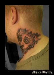 Svetlyo , Custom fantasy realistic black and gray Jesus tattoo