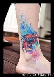 Svetlyo , Custom fantasy realistic crab tattoo