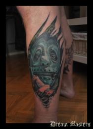 Svetlyo , Custom fantasy realistic slipknot drummer tattoo