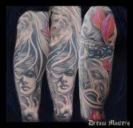 Svetlyo , Custom black and gray horror realistic tattoo