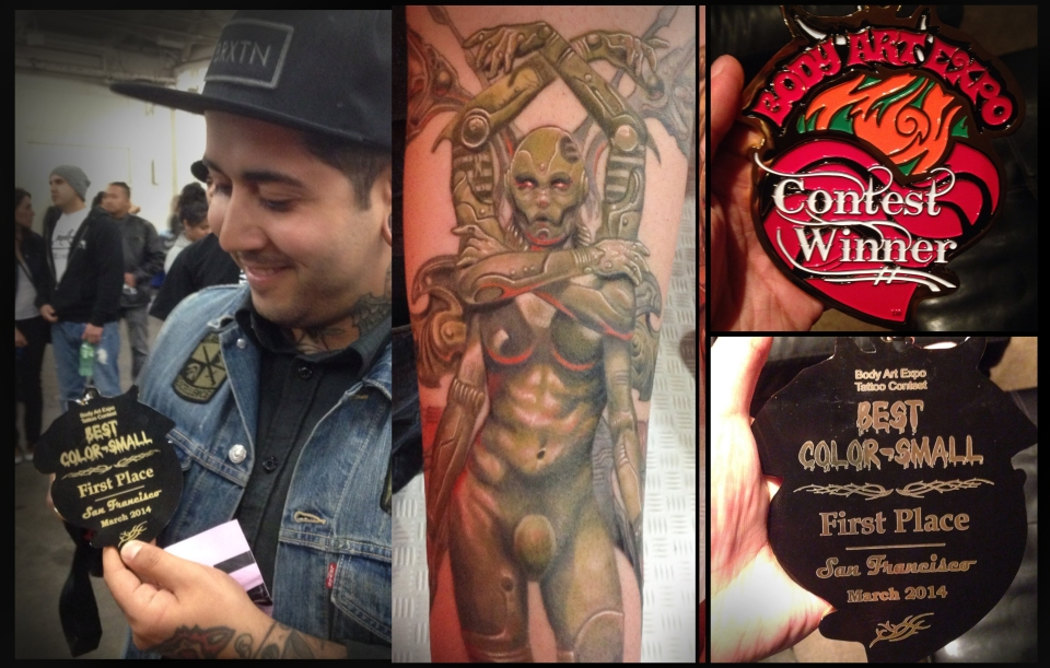 Svetlyo won 1st place for Best Small Color tattoo at Body Art Expo in San Francisco